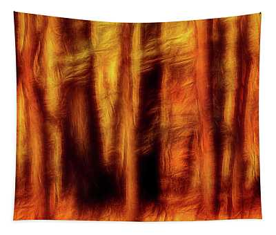Artistic Fall Forest Swipe Tapestry