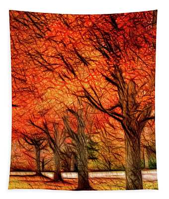 Artistic Four Fall Trees Tapestry