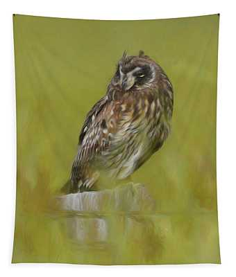 Artistic Owl On Fence Post Tapestry