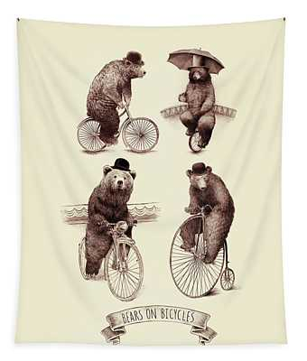 Bears On Bicycles Tapestry
