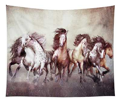 Galloping Horses Magnificent Seven Tapestry