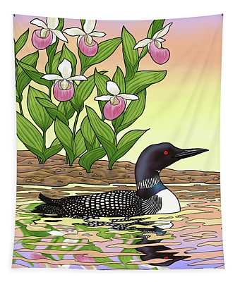 Minnesota State Bird Loon And Flower Ladyslipper Tapestry