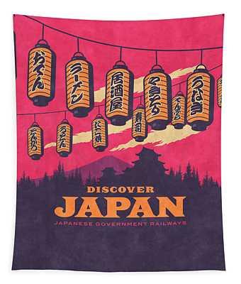 Japan Travel Tourism With Japanese Castle, Mt Fuji, Lanterns Retro Vintage - Magenta Tapestry