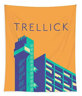 Trellick Tower London Brutalist Architecture - Text Apricot Tapestry