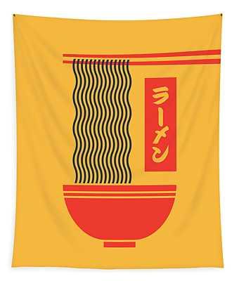 Ramen Japanese Food Noodle Bowl Chopsticks - Yellow Tapestry