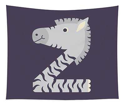 Letter Z - Animal Alphabet - Zebra Monogram Tapestry