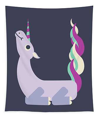 Letter U - Animal Alphabet - Unicorn Monogram Tapestry