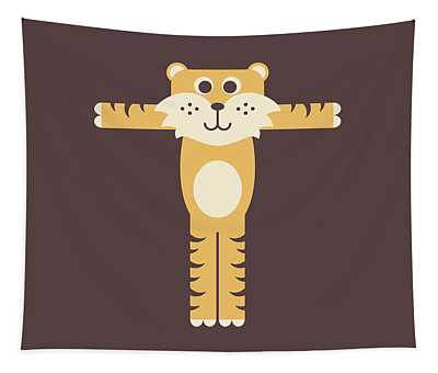 Letter T - Animal Alphabet - Tiger Monogram Tapestry