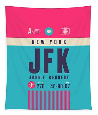 Retro Airline Luggage Tag - Jfk New York John F. Kennedy Tapestry