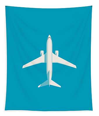 737 Passenger Jet Airliner Aircraft - Cyan Tapestry