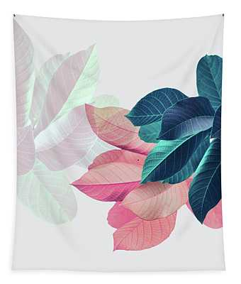 Pink And Blue Leaves Tapestry