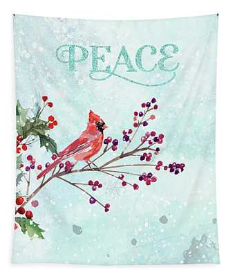 Woodland Holiday Peace Art Tapestry