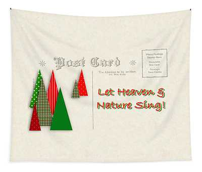 Contemporary Christmas Trees On Vintage Postcard Tapestry