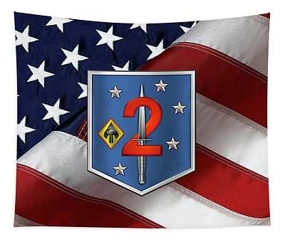 2d Marine Raider Support Battalion  -  2d  M R S B  Patch Over American Flag Tapestry
