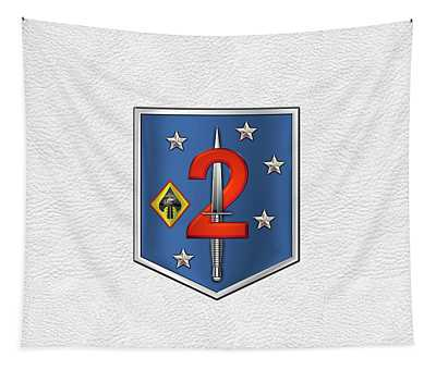 2d Marine Raider Support Battalion  -  2d  M R S B  Patch White Leather Tapestry