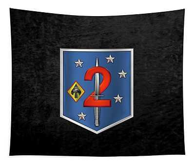 2d Marine Raider Support Battalion  -  2d  M R S B  Patch Over Black Velvet Tapestry