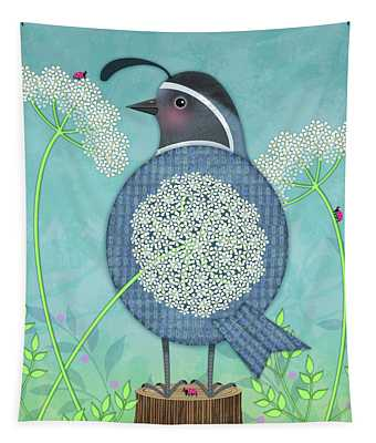Q Is For Quail And Queen Anne's Lace Tapestry