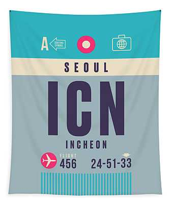 Retro Airline Luggage Tag - Icn Seoul Incheon Tapestry