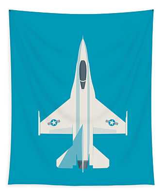 F-16 Falcon Fighter Jet Aircraft - Cyan Tapestry