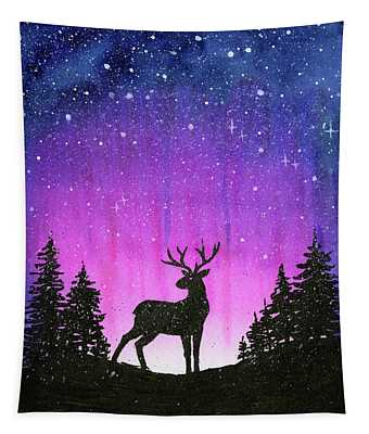 Winter Forest Galaxy Reindeer Tapestry