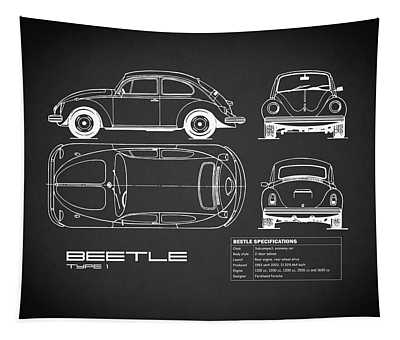 The Classic Beetle Blueprint Black Tapestry