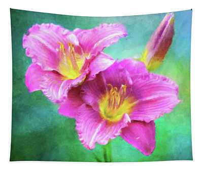 Dynamic Daylily Duo Tapestry