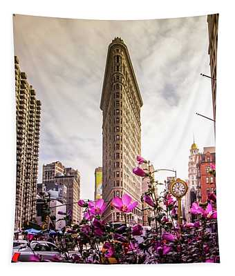 Flatiron And Flowers Tapestry