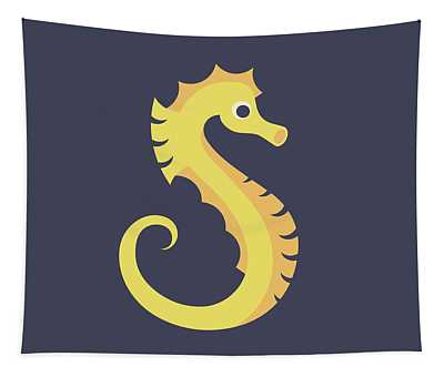 Letter S - Animal Alphabet - Seahorse Monogram Tapestry
