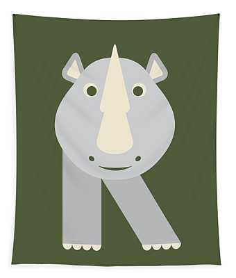 Letter R - Animal Alphabet - Rhino Monogram Tapestry