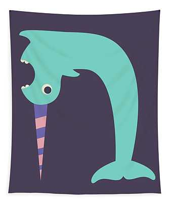 Letter N - Animal Alphabet - Narwhal Monogram Tapestry