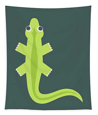 Letter L - Animal Alphabet - Lizard Monogram Tapestry