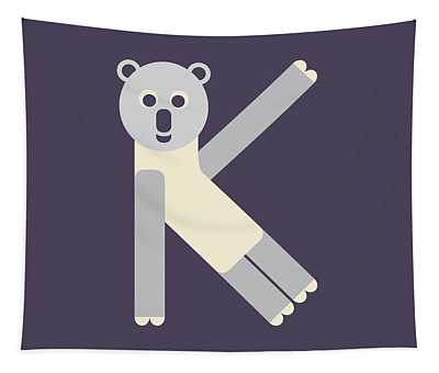 Letter K - Animal Alphabet - Koala Monogram Tapestry
