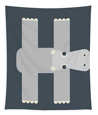Animal Alphabet - Letter H - Hippo Monogram Tapestry
