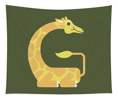 Letter G - Animal Alphabet - Giraffe Monogram Tapestry