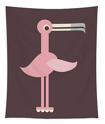 Letter F - Animal Alphabet - Flamingo Monogram Tapestry