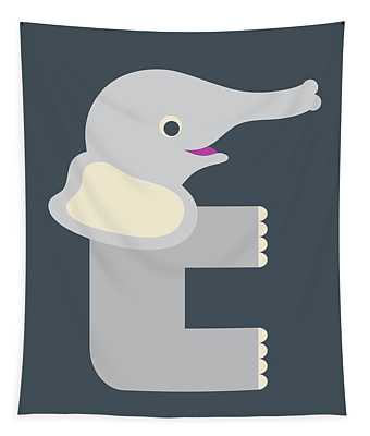 Letter E - Animal Alphabet - Elephant Monogram Tapestry