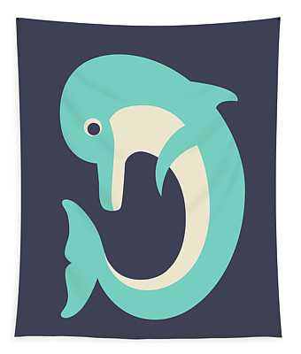 Letter D - Animal Alphabet - Dolphin Monogram Tapestry