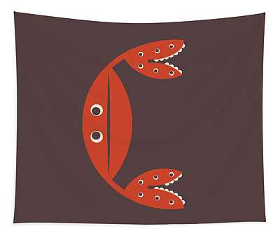 Letter C - Animal Alphabet - Crab Monogram Tapestry