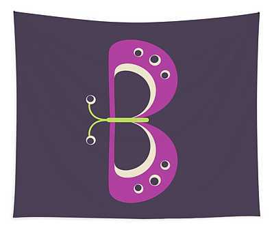 Letter B - Animal Alphabet - Butterfly Monogram Tapestry