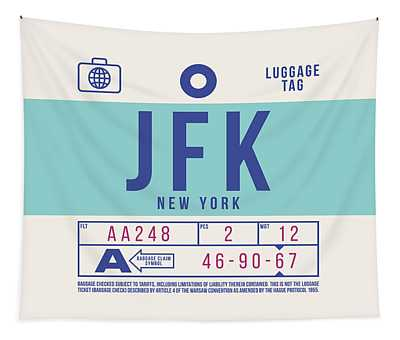 Retro Airline Luggage Tag 2.0 - Jfk New York United States Tapestry