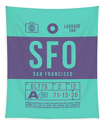 Retro Airline Luggage Tag 2.0 - Sfo San Francisco International Airport United States Tapestry