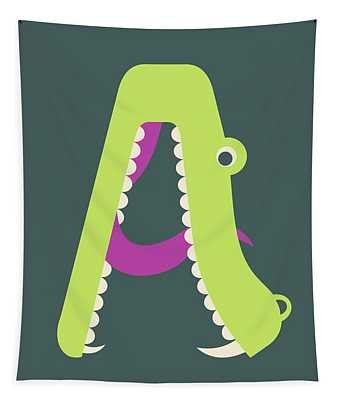 Letter A - Animal Alphabet - Alligator Monogram Tapestry