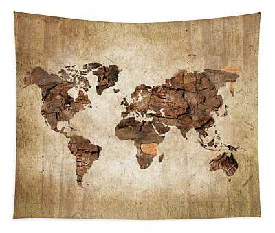Wood World Map Tapestry