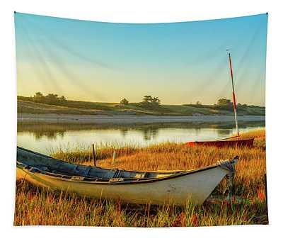 Boats In The Marsh Grass, Ogunquit River Tapestry