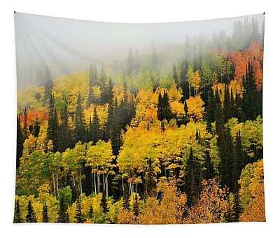 Aspens In Fog Tapestry