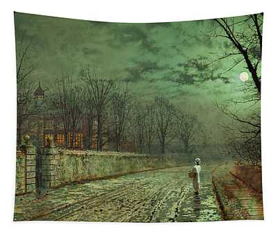 Atkinson Grimshaw -leeds, 1836 -1893-. A Moonlit Evening -1880-. Oil On Cardboard. 25.5 X 46 Cm. Tapestry