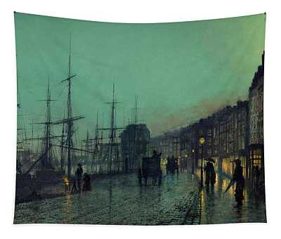 Atkinson Grimshaw -leeds, 1836 -1893-. Shipping On The Clyde -1881-. Oil On Cardboard. 30.5 X 51 Cm. Tapestry
