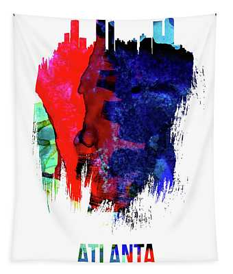 Atlanta Skyline Brush Stroke Watercolor   Tapestry