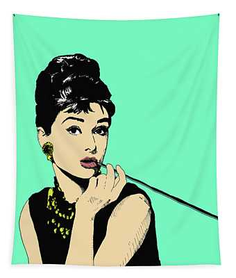 Audrey On Green Tapestry