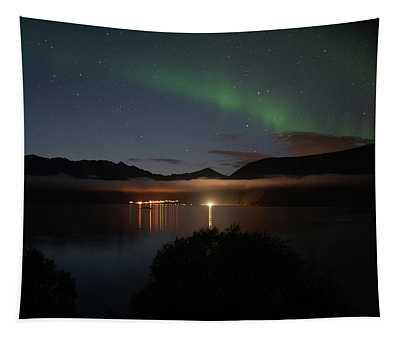 Aurora Northern Polar Light In Night Sky Over Northern Norway Tapestry